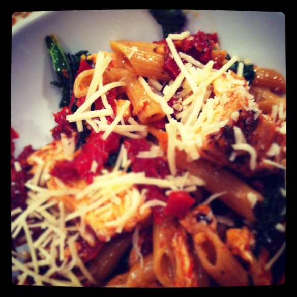 Chicken penne pasta with kale